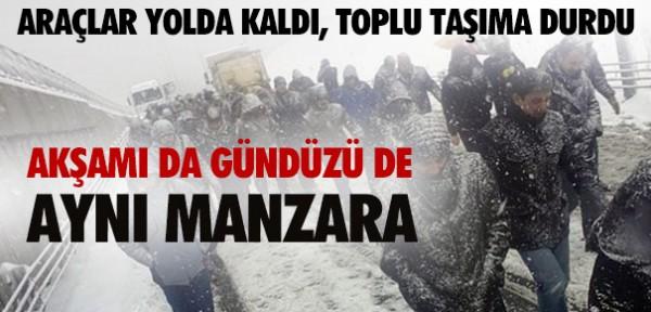 İstanbul'da kar esareti! Yollar felç oldu!