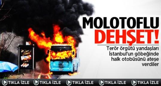 Okmeydanı'nda halk otobüsünü ateşe verdiler