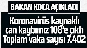Fahrettin Koca son bilgileri paylaştı! Can kaybı 108'e çıktı