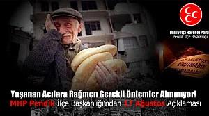 MHP Pendik İlçe Başkanlığından 17 Ağustos Açıklaması